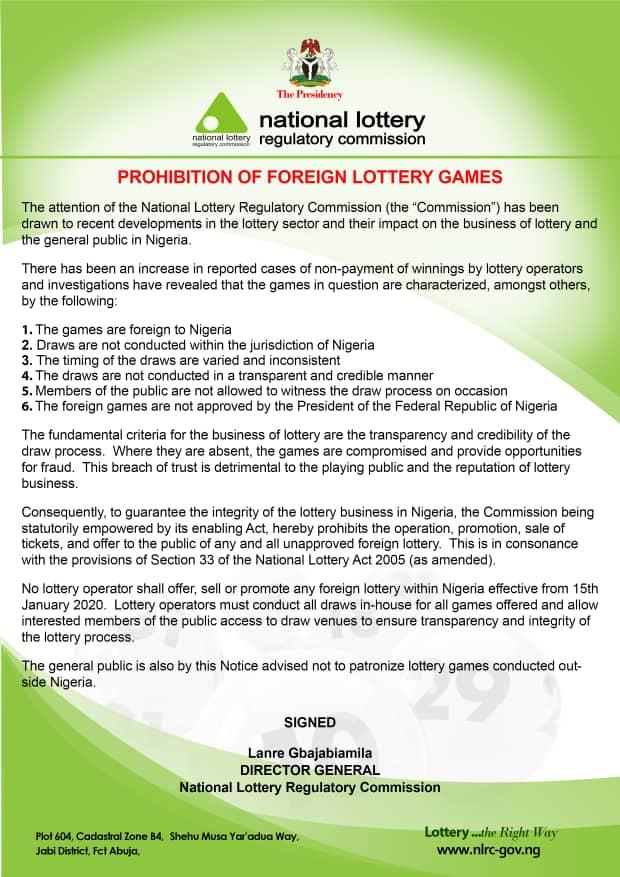Prohibition of Foreign Lottery Games